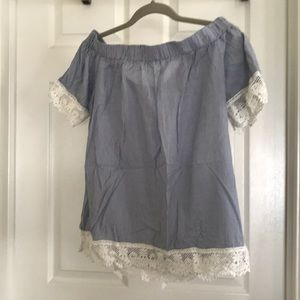 Brand new with tags off the shoulder striped top